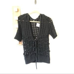 New Knitted & Knotted Black Open Knit Shrug